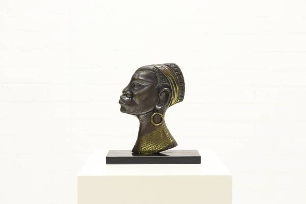 Mid Century Bronze Sculpture African Woman 1950s