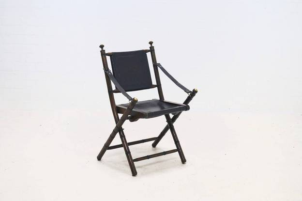 Oak and Leather Campaign Folding Chair 1920s