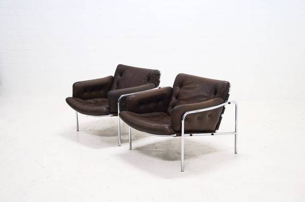 Pair of 2 Lounge Chairs by Martin Visser for 't Spectrum, 1960s
