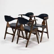 Set of 4 Cow Horn Chairs by Louis van Teeffelen for AWA, 1960's
