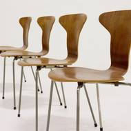 Set of 4 model 3105 Mosquito dining chairs by Arne Jacobsen for Fritz Hansen, 1950s
